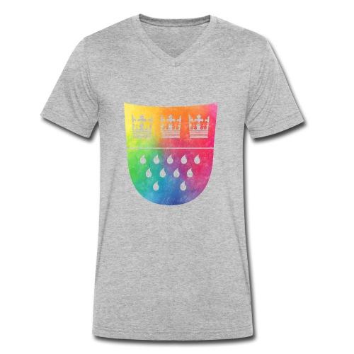 Kölner Wappen Rainbow - Männer Bio-T-Shirt mit V-Ausschnitt von Stanley & Stella