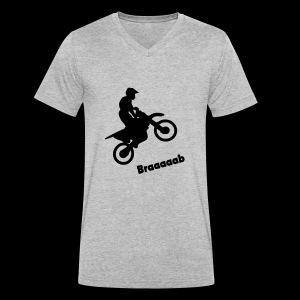 Motorrad im Wheelie - Männer Bio-T-Shirt mit V-Ausschnitt von Stanley & Stella