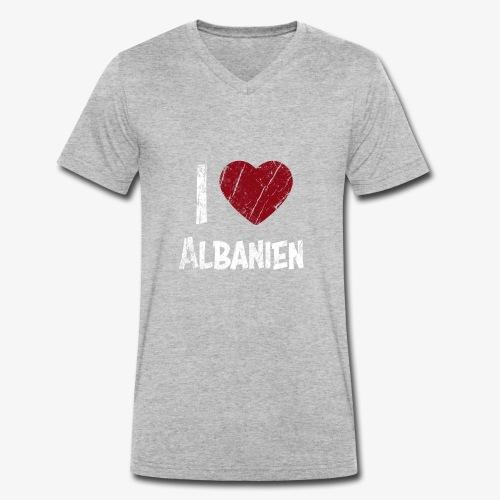 I Love Albanien - Männer Bio-T-Shirt mit V-Ausschnitt von Stanley & Stella