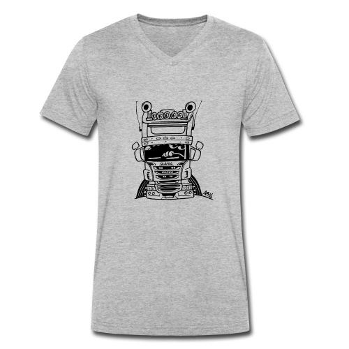 0323 Truck in ZWART - Mannen bio T-shirt met V-hals van Stanley & Stella