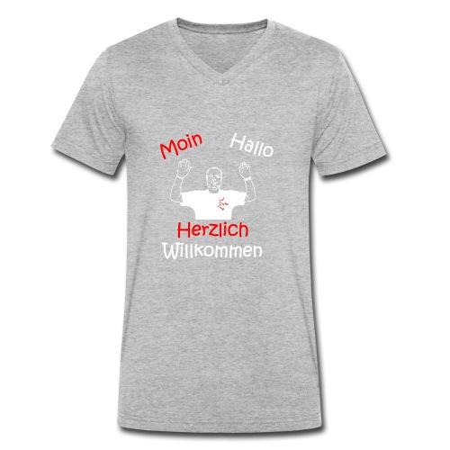 Moin Hallo Herzlich Willkommen - DerDickeDirk - Männer Bio-T-Shirt mit V-Ausschnitt von Stanley & Stella