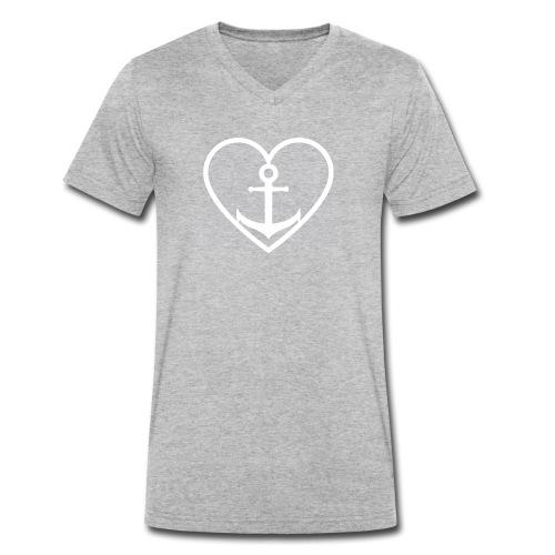 Anker Herz Liebe Küste Norddeutschland Wasser See - Männer Bio-T-Shirt mit V-Ausschnitt von Stanley & Stella