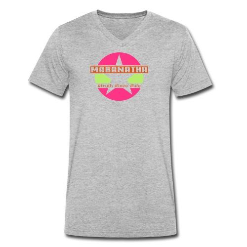 maranatha rosa-grün - Männer Bio-T-Shirt mit V-Ausschnitt von Stanley & Stella