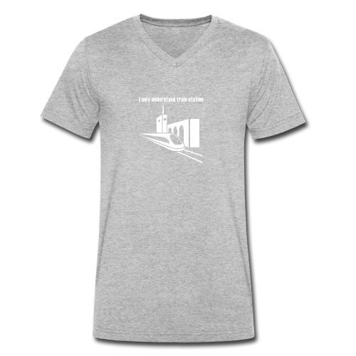 Bahnhof_Verstehen_v2_white - Männer Bio-T-Shirt mit V-Ausschnitt von Stanley & Stella