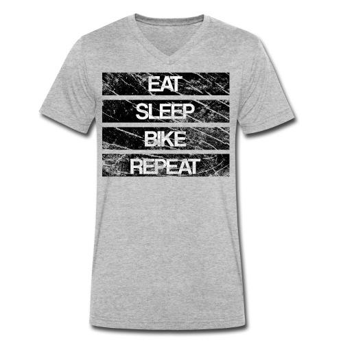 eat sleep bike repeat Used look - Männer Bio-T-Shirt mit V-Ausschnitt von Stanley & Stella