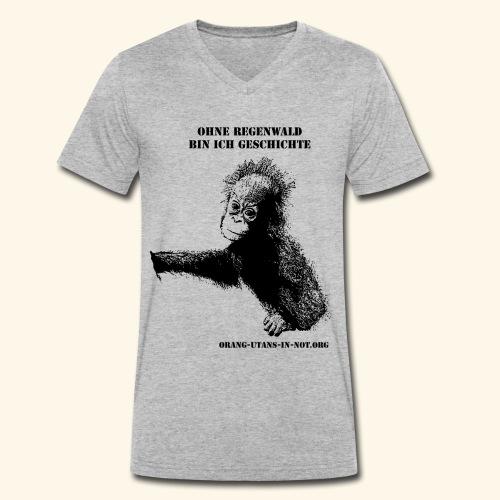 Orang-Utan-Baby Ohne Regenwald bin ich Geschichte - Männer Bio-T-Shirt mit V-Ausschnitt von Stanley & Stella