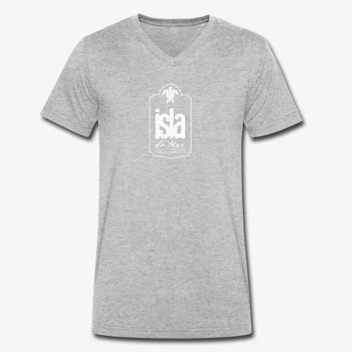 Logotipo White Isla de Mar - Camiseta ecológica hombre con cuello de pico de Stanley & Stella