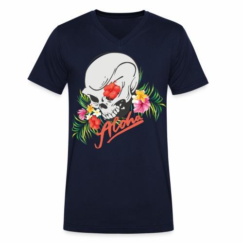 Hawaiian Skull Aloha Surfer Design - Männer Bio-T-Shirt mit V-Ausschnitt von Stanley & Stella