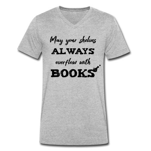 0040 Always full bookshelves | Bücherstapel - Men's Organic V-Neck T-Shirt by Stanley & Stella