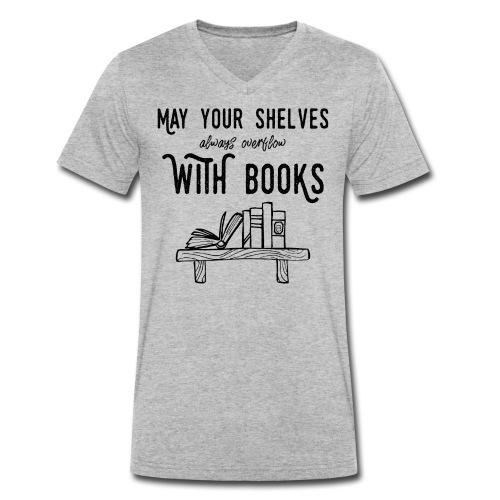 0036 bookshelf | Stack of books | Book | Read - Men's Organic V-Neck T-Shirt by Stanley & Stella