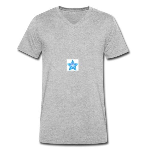 blue themed christmas star 0515 1012 0322 4634 SMU - Men's Organic V-Neck T-Shirt by Stanley & Stella