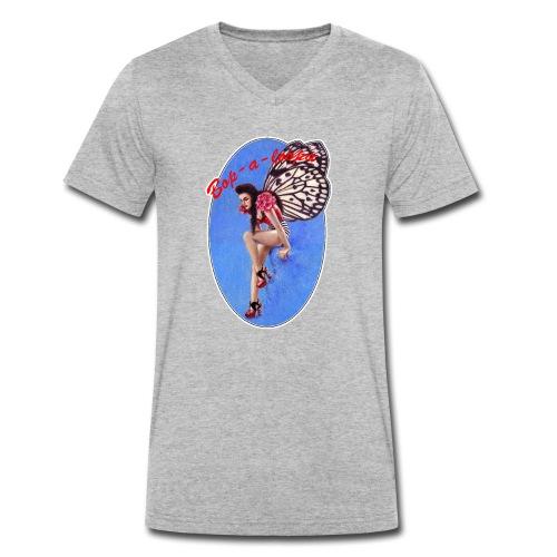 Vintage Rockabilly Butterfly Pin-up Design - Men's Organic V-Neck T-Shirt by Stanley & Stella