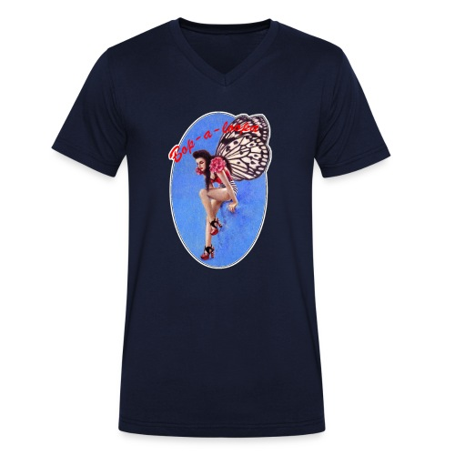 Vintage Rockabilly Butterfly Pin-up Design - Men's Organic V-Neck T-Shirt by Stanley & Stella