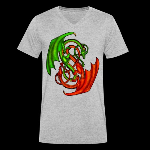 Entwined Dragons - Men's Organic V-Neck T-Shirt by Stanley & Stella