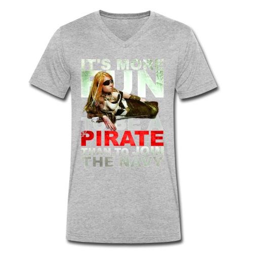 pirate gif - Mannen bio T-shirt met V-hals van Stanley & Stella