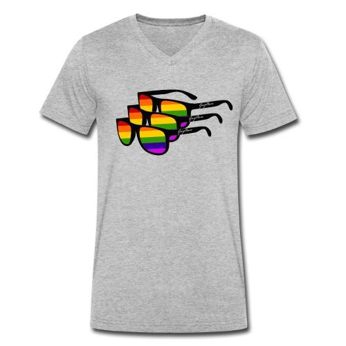 Rainbow Sunglass Gay Ban - Männer Bio-T-Shirt mit V-Ausschnitt von Stanley & Stella