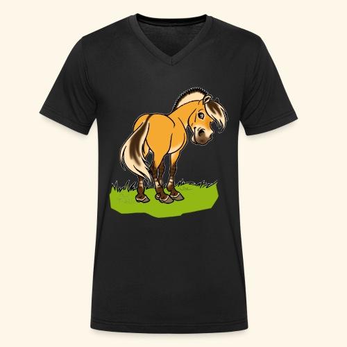 Freundliches Fjordpferd (Ohne Text) Weisse Umrisse - T-shirt bio col V Stanley & Stella Homme