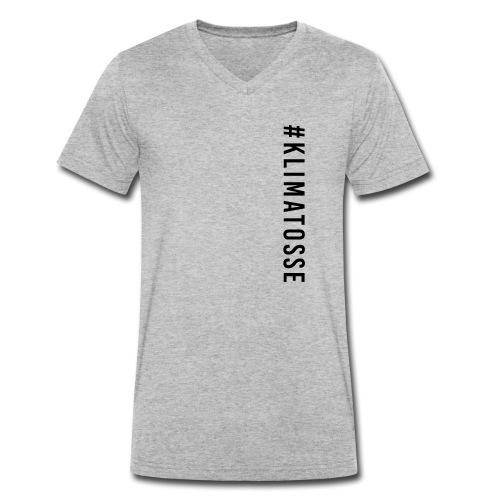 #klimatosse vertikal - sort print - Økologisk Stanley & Stella T-shirt med V-udskæring til herrer
