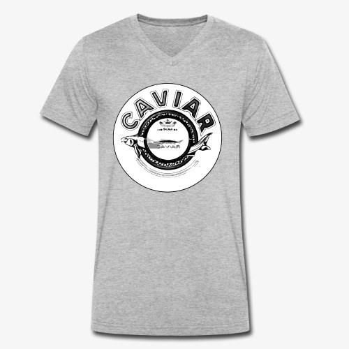 Caviar Black / White - Men's Organic V-Neck T-Shirt by Stanley & Stella