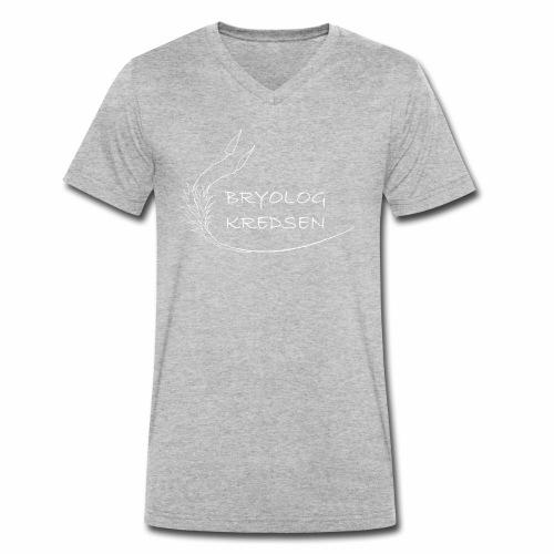 Bryologkredsen - hvidt logo - Økologisk Stanley & Stella T-shirt med V-udskæring til herrer