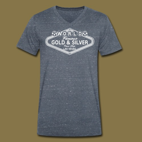 World Famous Gold & Silver Pawn Shop Logo - Men's Organic V-Neck T-Shirt by Stanley & Stella