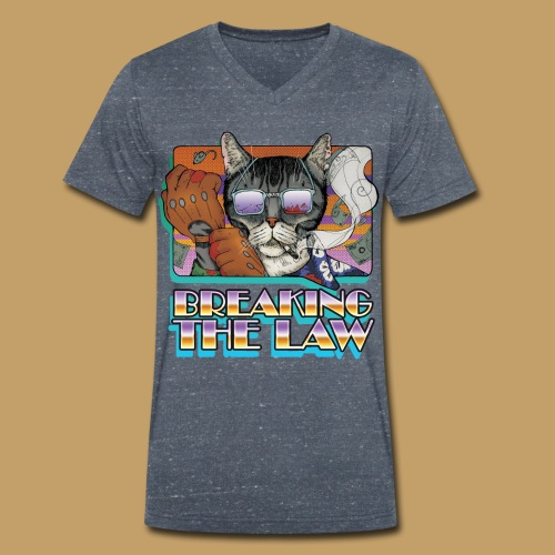 Crime Cat in Shades - Braking the Law - Ekologiczna koszulka męska z dekoltem w serek Stanley & Stella