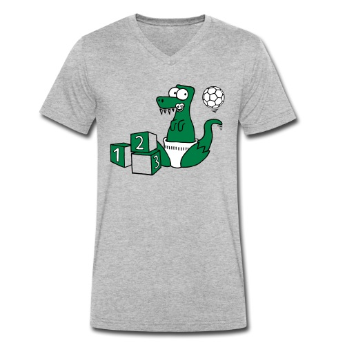Baby T-Rex Dino mit Ball und Würfel - Männer Bio-T-Shirt mit V-Ausschnitt von Stanley & Stella
