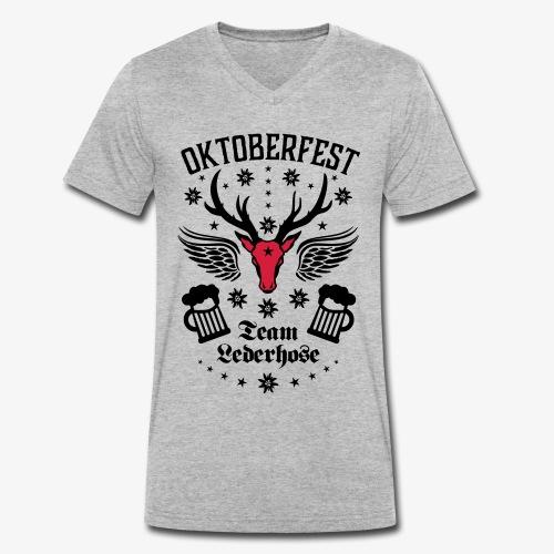 03 Oktoberfest Hirsch Bier Team Lederhose Bayern - Männer Bio-T-Shirt mit V-Ausschnitt von Stanley & Stella