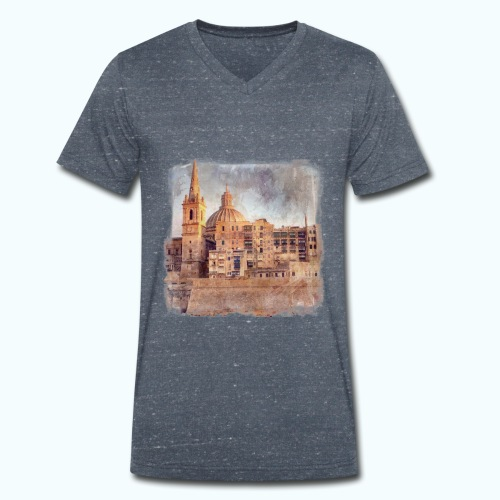 Valletta Malta Vintage Design - Men's Organic V-Neck T-Shirt by Stanley & Stella