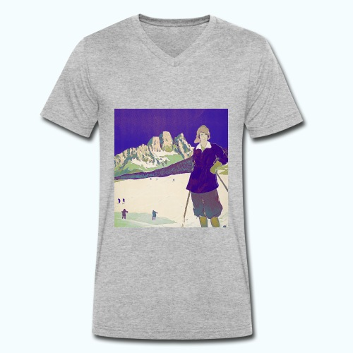 Ski trip vintage poster - Men's Organic V-Neck T-Shirt by Stanley & Stella