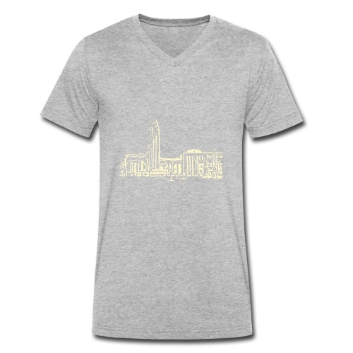 Helsinki railway station pattern trasparent beige - Men's Organic V-Neck T-Shirt by Stanley & Stella