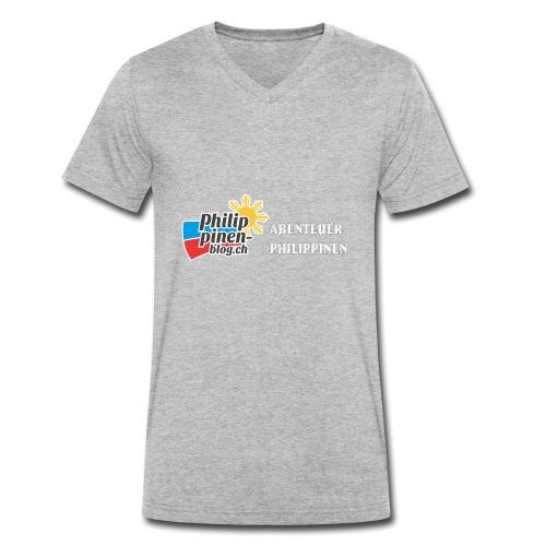 Philippinen-Blog Logo deutsch schwarz/weiss - Männer Bio-T-Shirt mit V-Ausschnitt von Stanley & Stella