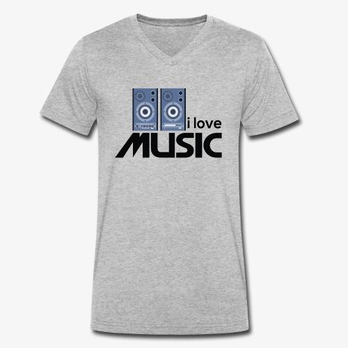 Amo la música 01 - Camiseta ecológica hombre con cuello de pico de Stanley & Stella