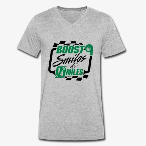 Boost Smiles & Quarter Miles Green & Black Print - Men's Organic V-Neck T-Shirt by Stanley & Stella