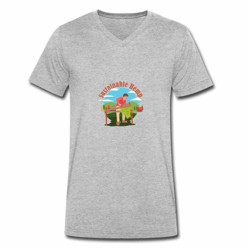 Cáñamo Sustentable en Inglés (Sustainable Hemp) - Camiseta ecológica hombre con cuello de pico de Stanley & Stella