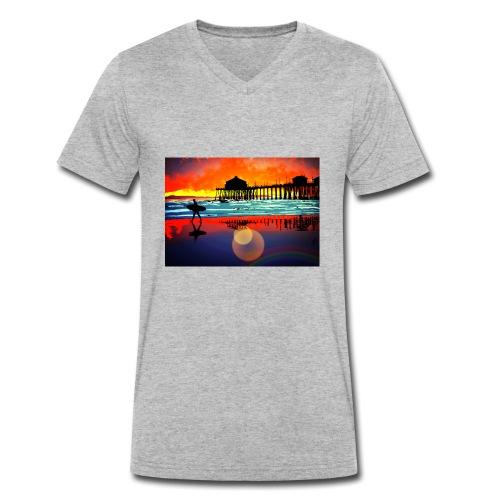 plage soleil couchant - T-shirt bio col V Stanley & Stella Homme