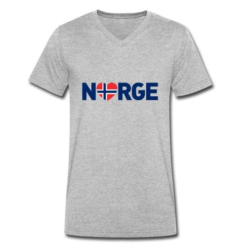 Elsker Norge - fra Det norske plagg - Økologisk T-skjorte med V-hals for menn fra Stanley & Stella