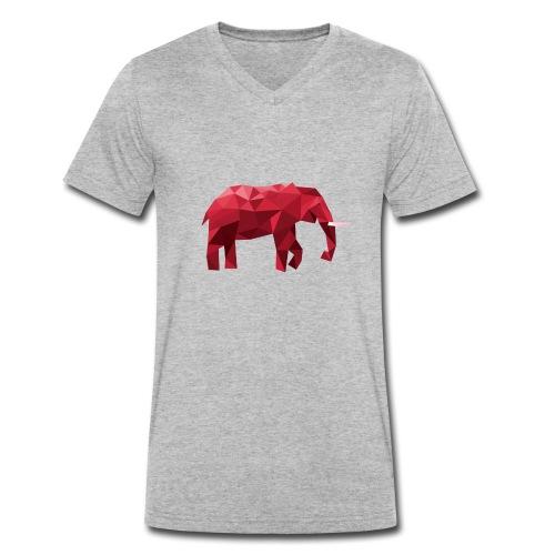 Elefant Vektor Rot - Männer Bio-T-Shirt mit V-Ausschnitt von Stanley & Stella
