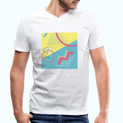 Pastel turquoise geometry - Men's Organic V-Neck T-Shirt by Stanley & Stella