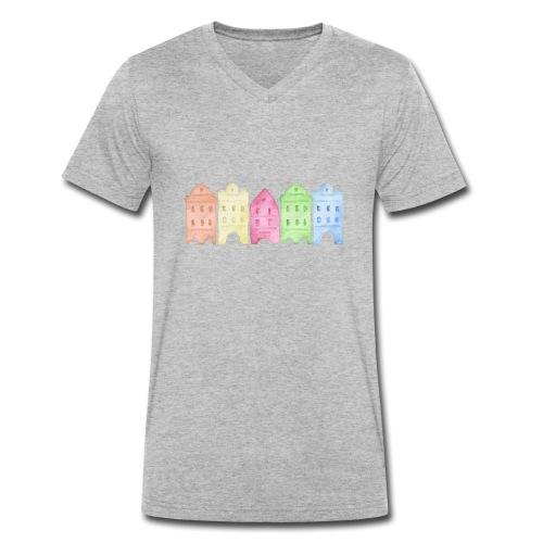 Watercolor Houses - Männer Bio-T-Shirt mit V-Ausschnitt von Stanley & Stella