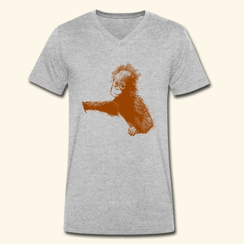 Orang-Utan-Baby braun - Männer Bio-T-Shirt mit V-Ausschnitt von Stanley & Stella