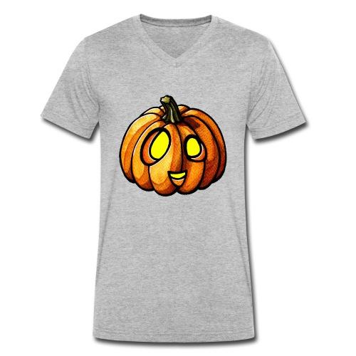 Pumpkin Halloween watercolor scribblesirii - Männer Bio-T-Shirt mit V-Ausschnitt von Stanley & Stella