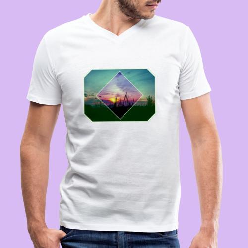 Tramonto in risalto tra figure geometriche - T-shirt ecologica da uomo con scollo a V di Stanley & Stella
