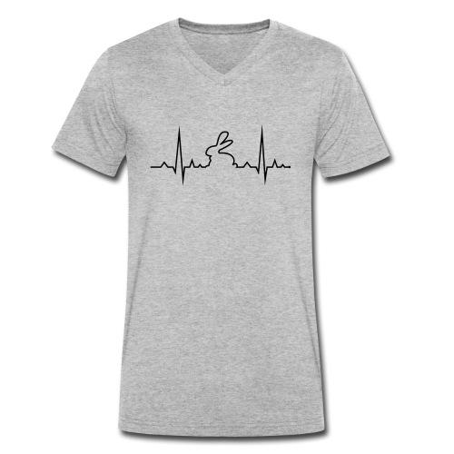 EKG Herzschlag Hase Kaninchen Zwergkaninchen - Männer Bio-T-Shirt mit V-Ausschnitt von Stanley & Stella