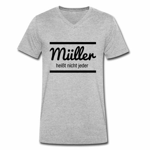 Müller Namensschild - Männer Bio-T-Shirt mit V-Ausschnitt von Stanley & Stella