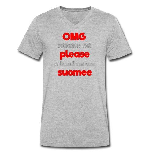 OMG please puhutaa suomee, punainen - Stanley & Stellan miesten luomupikeepaita