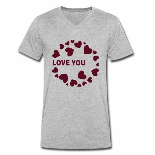 Herzen LOVE YOU - Männer Bio-T-Shirt mit V-Ausschnitt von Stanley & Stella