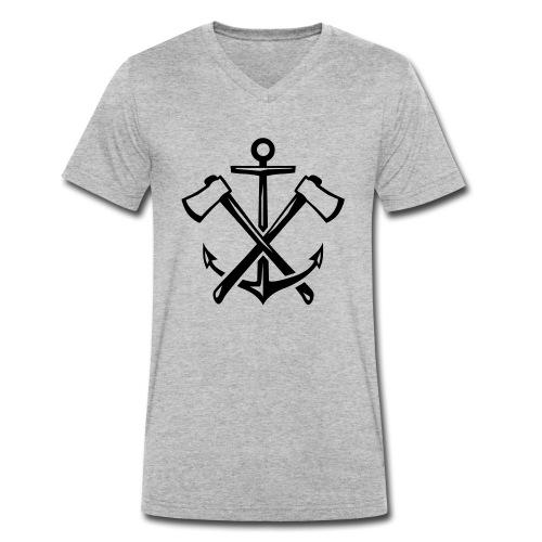 Hipster Anker Axt Emblem - Männer Bio-T-Shirt mit V-Ausschnitt von Stanley & Stella
