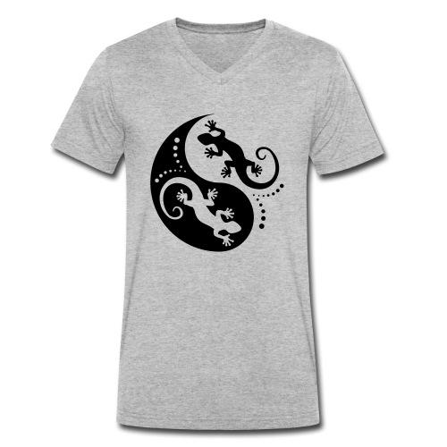 YIN & YANG Geckos black - Männer Bio-T-Shirt mit V-Ausschnitt von Stanley & Stella