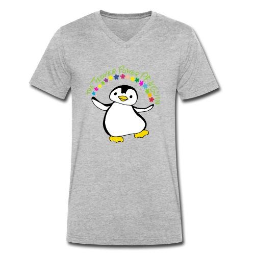Pinguin Flower Power - Männer Bio-T-Shirt mit V-Ausschnitt von Stanley & Stella